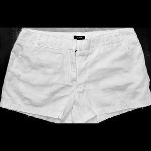 J. Crew Distressed Cotton Chino Shorts white